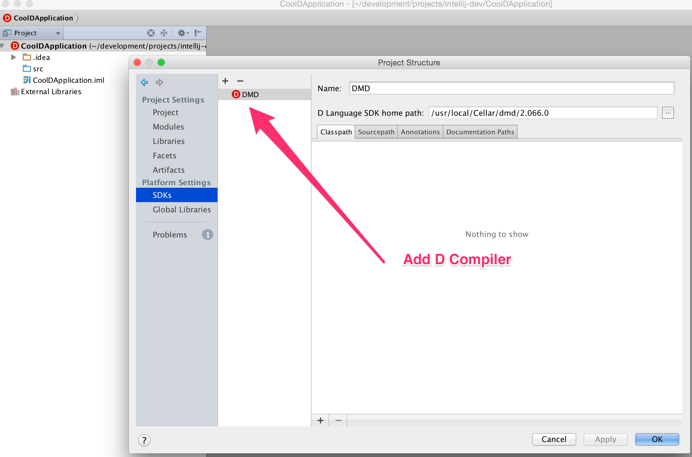 module settings add d compiler