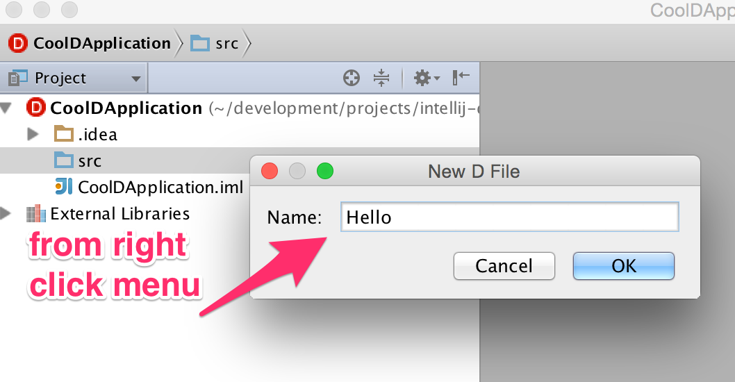 right click add new d file