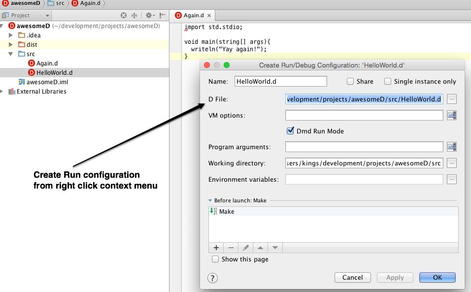 run configuration create box