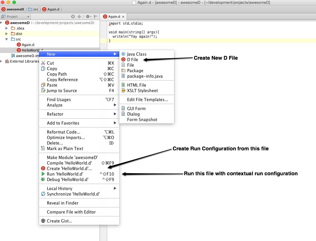 run configuration menus