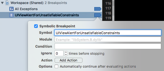 Unsatisfiable Constraints Breakpoint