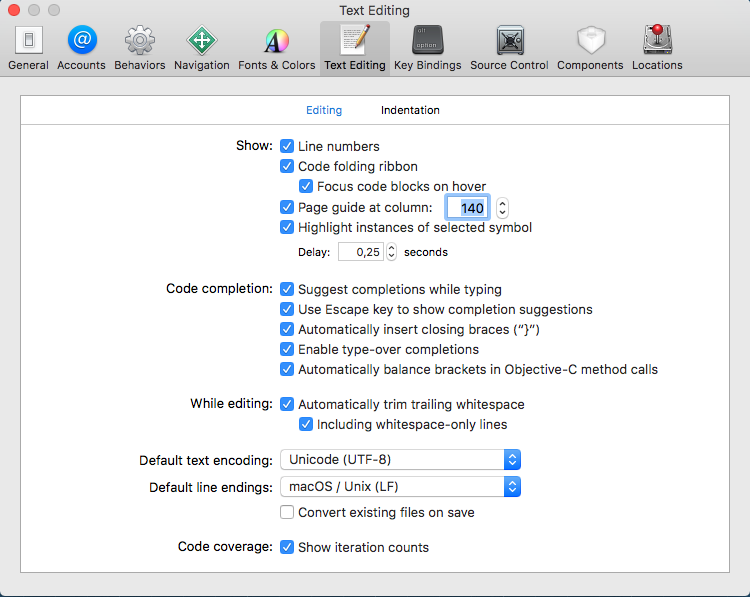 Xcode Text Editing