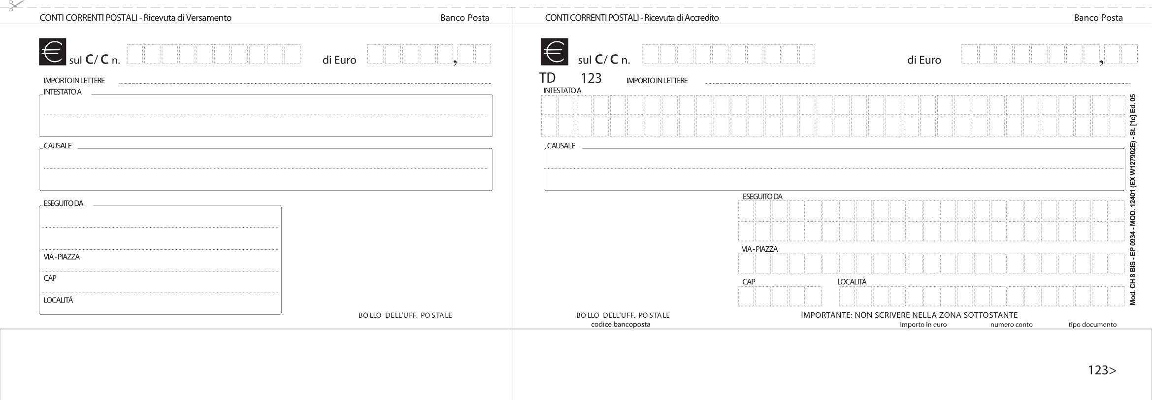 Postal payment slip