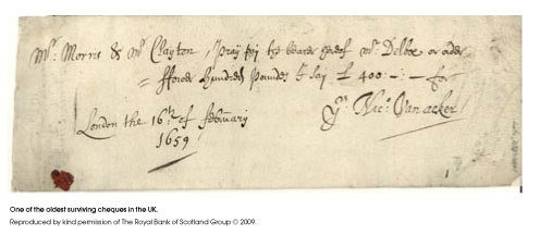 Cheque from 1659