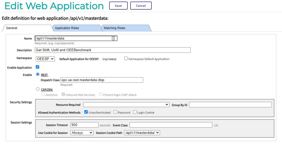Datamodel webapplication configuration