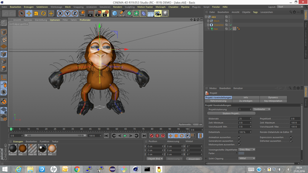 Jake in Cinema 4D's editor view
