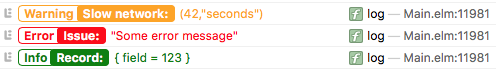 Screenshot of a console log using elm-logger