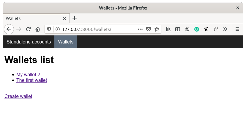 Wallets page