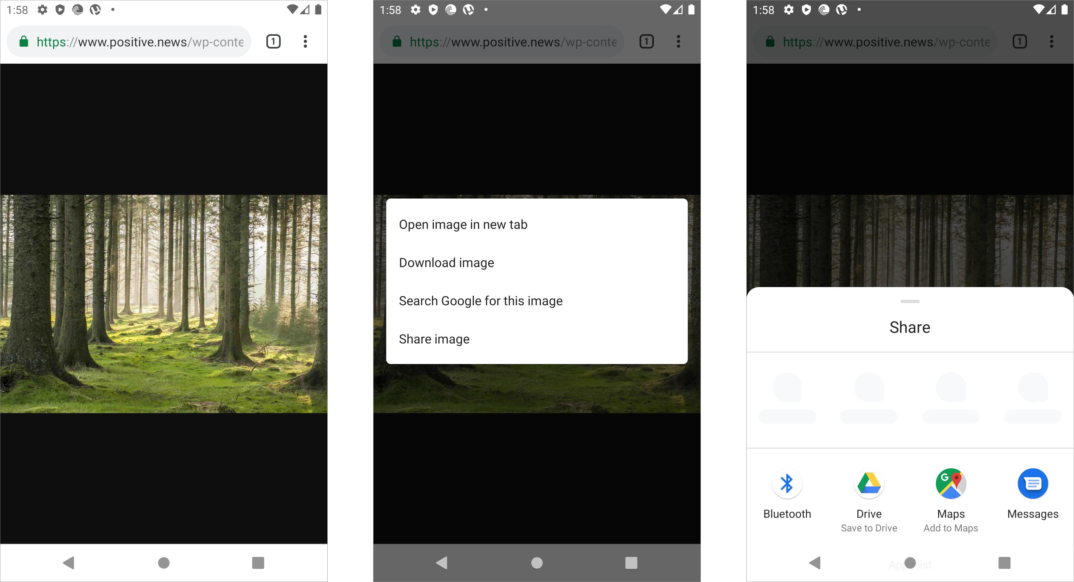 Google Android sharing photo interaction