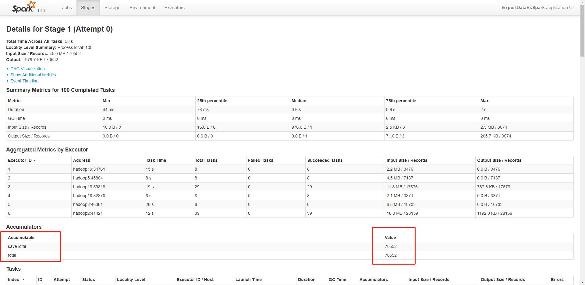 在 SparkUI 中查看任务的累加器