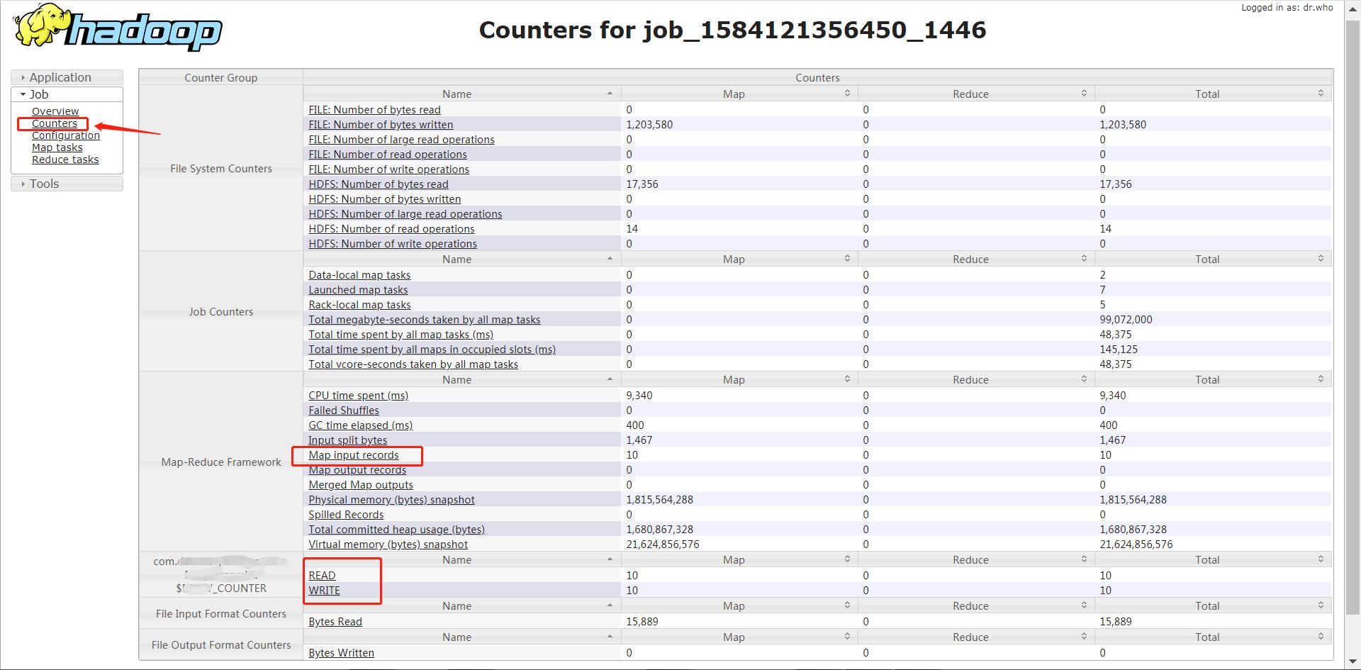 MapReduce 查看 Counters