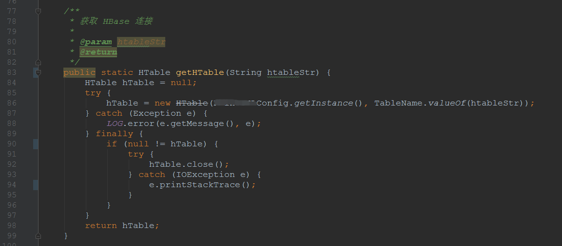 获取 HBase 表连接的代码片段