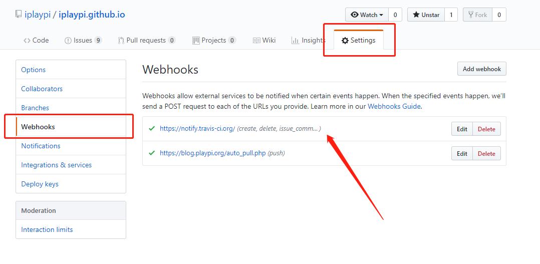 Webhooks 列表