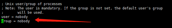 设置 PHP-FPM 的用户名和组