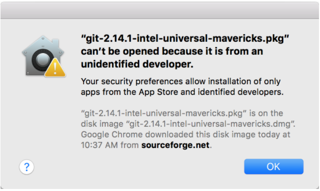 message stating that unidentified download cannot be opened