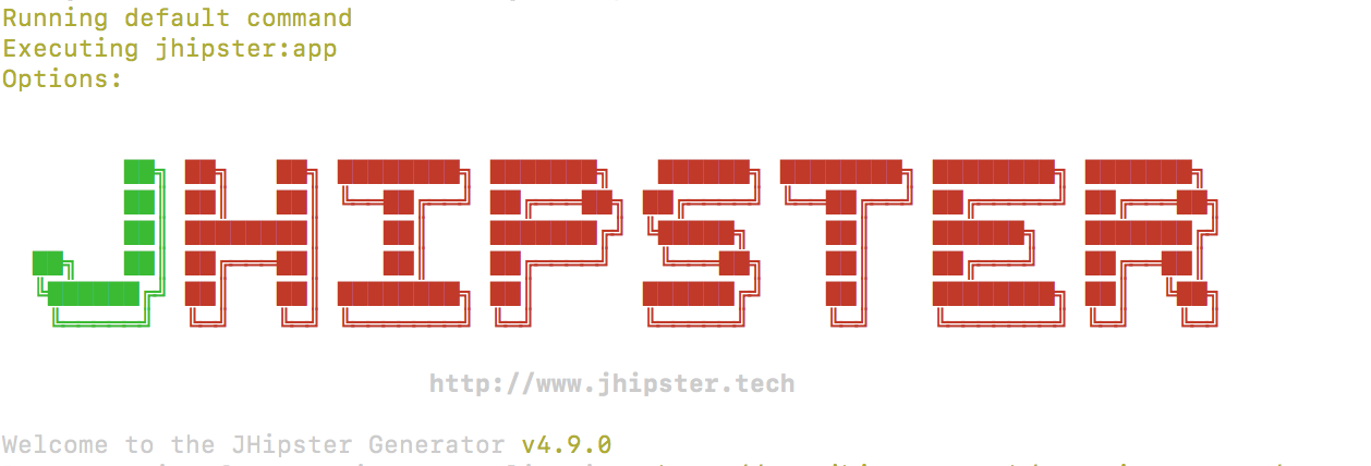 JHipster graphic appearing in Terminal