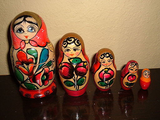 A set of floral themed matryoshkas