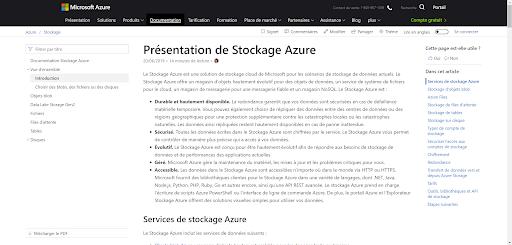 Figure 17 : Azure storage online documentation