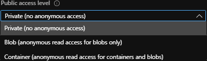 Figure 22 : editing the access level of a Blob container