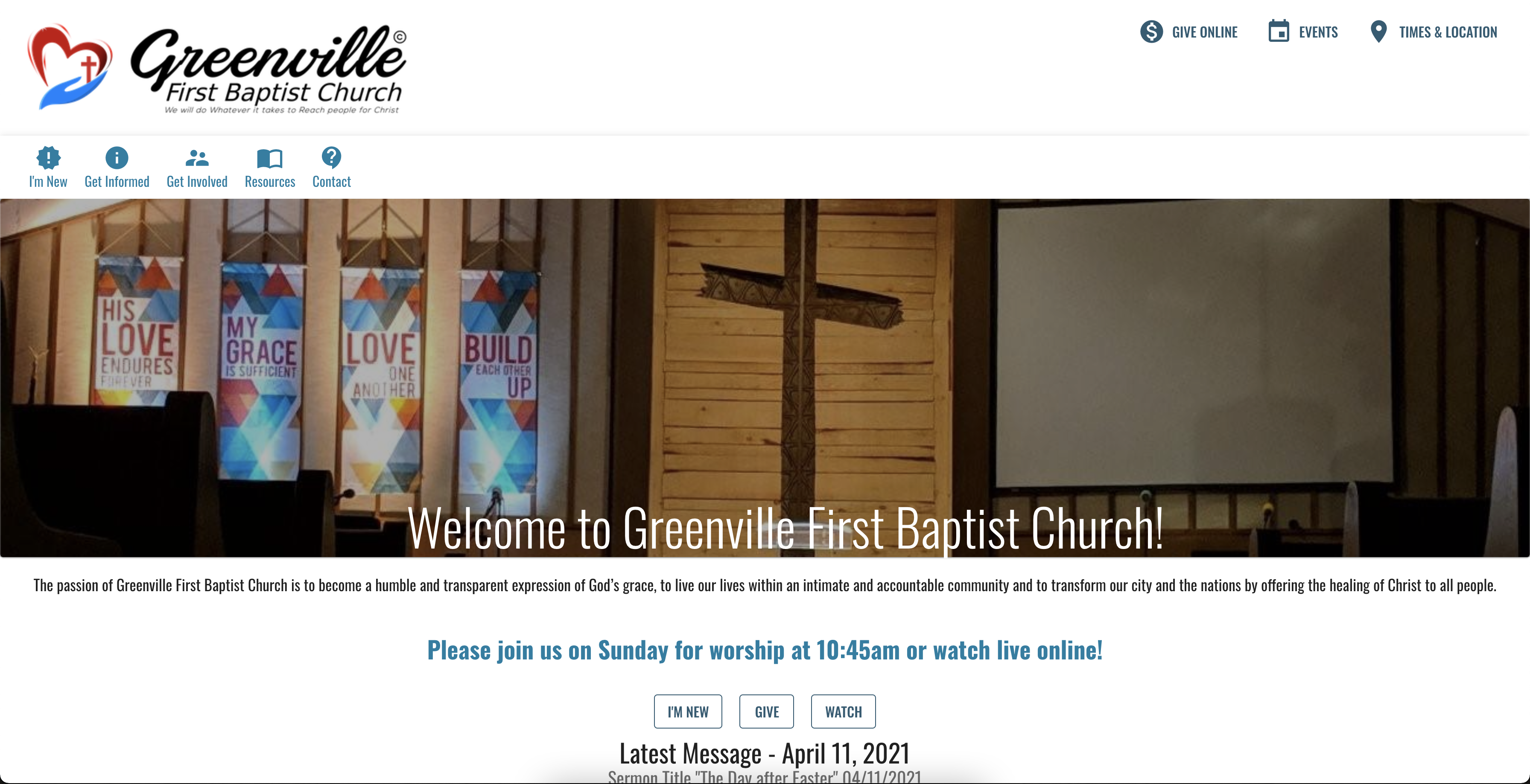 Before of the Church Website