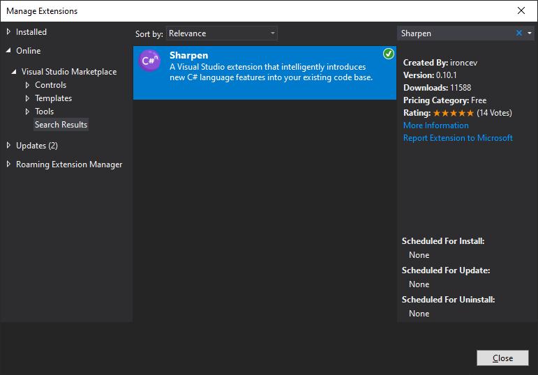 Installing Sharpen from Visual Studio