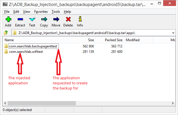 ADB Backup Injection, the tar file with the injected content