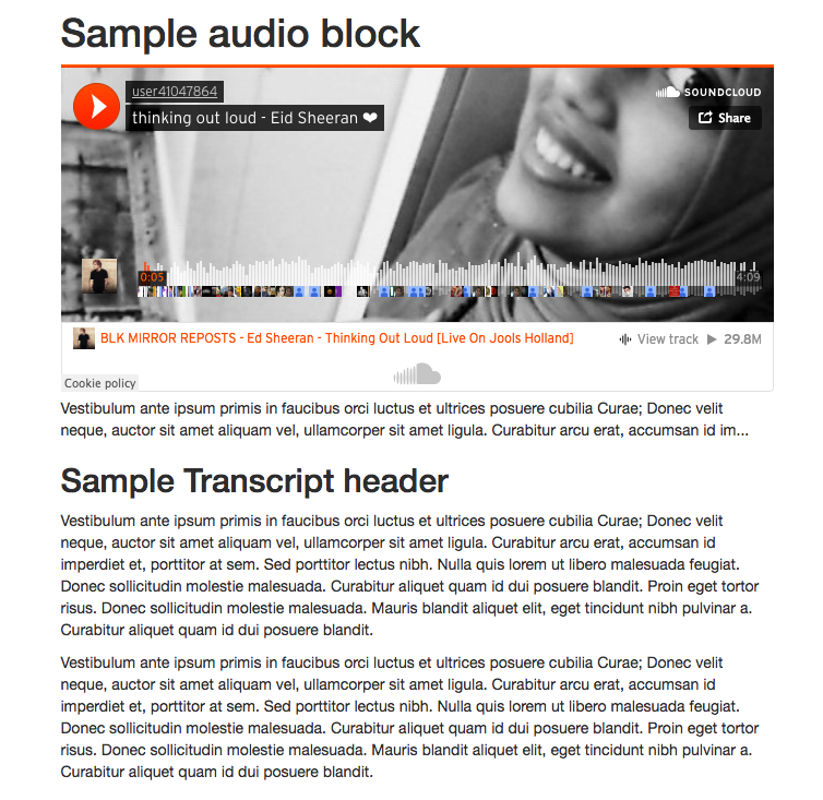 Front End sample of a Audio Element - embed