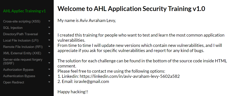 GitHub - isravle/AHL-Application-Security-Training: Application