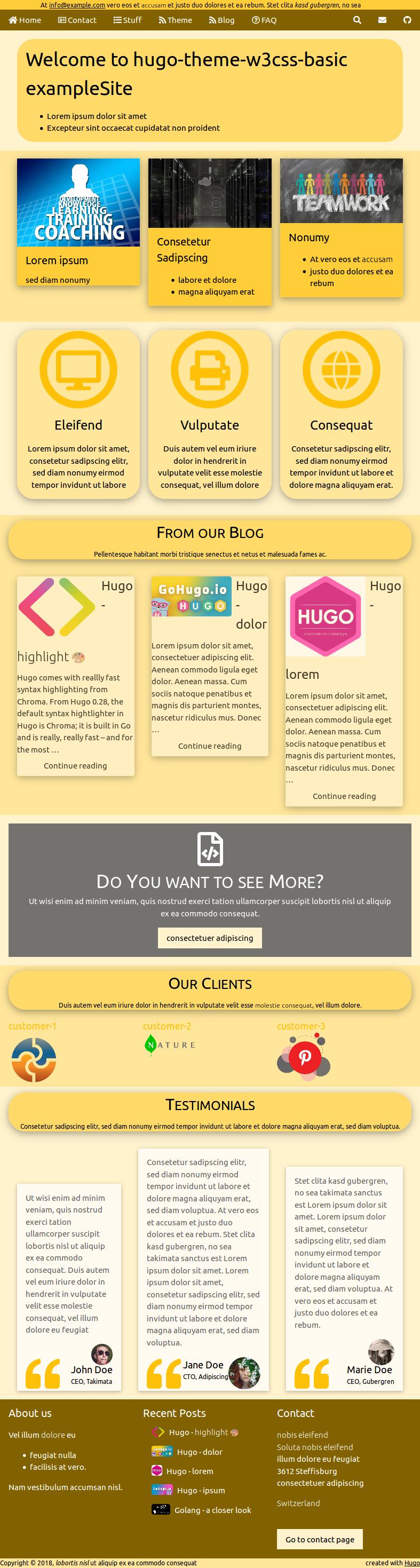 Hugo Theme W3css Basic | Hugo Themes