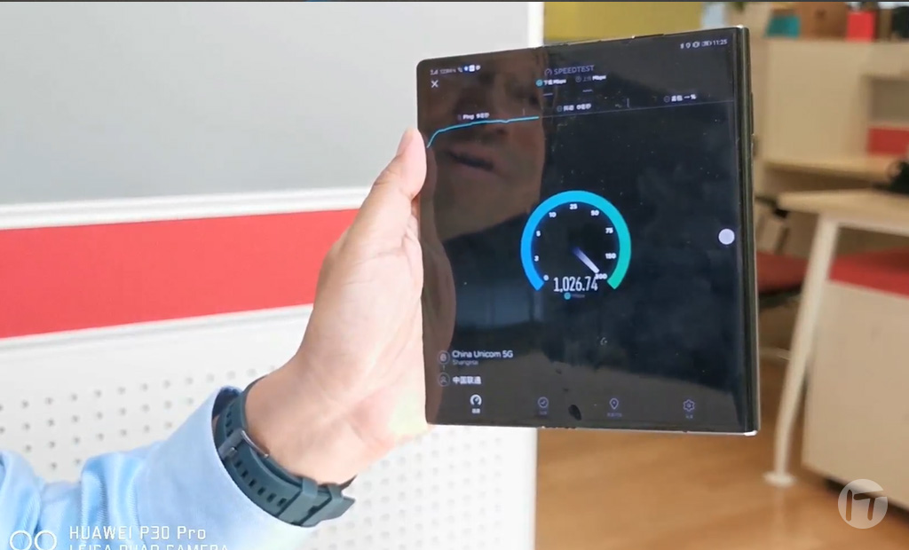 Huawei publica video de prueba de velocidad en una red 5G con un HUAWEI Mate X, su smartphone plegable 5G
