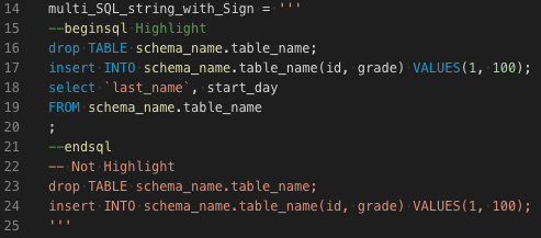 multi SQL stirng with Sign