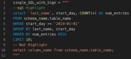 single SQL stirng with Sign