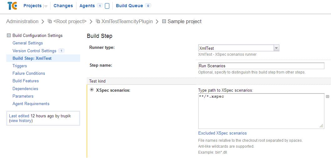 XmlTest build step