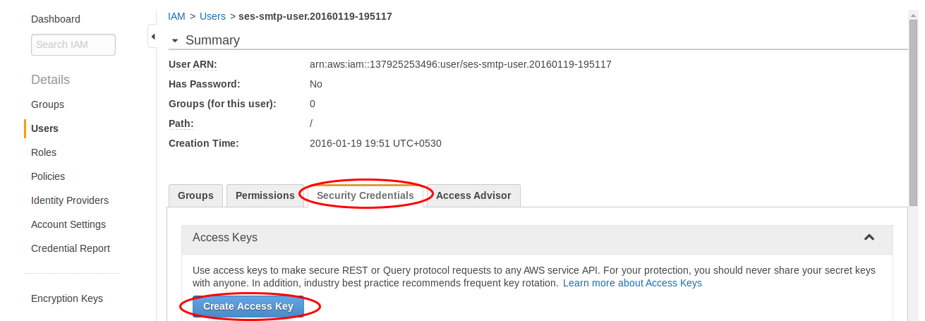 Create access key