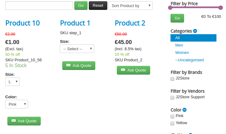 Ask quote enabled on all products