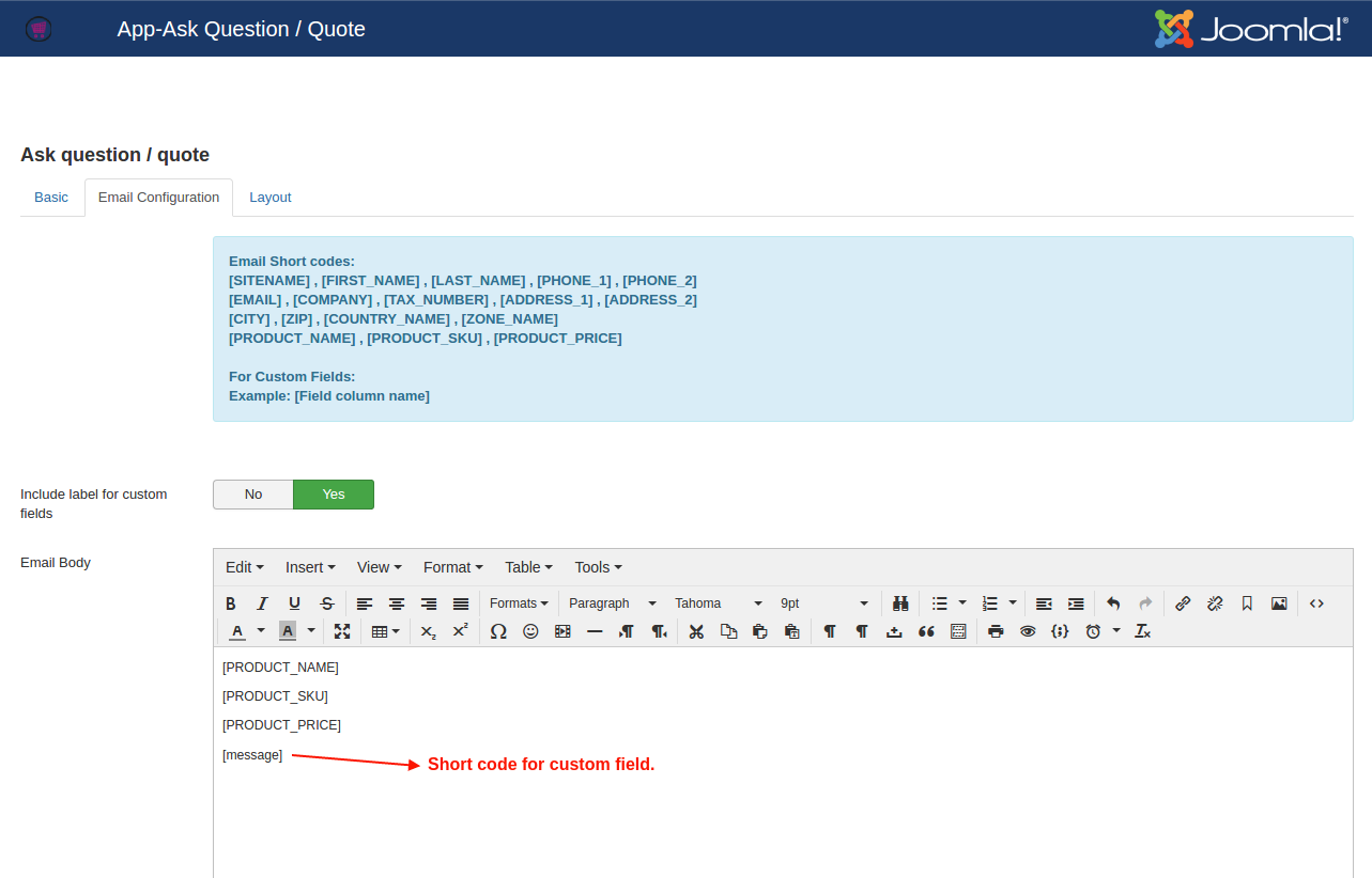 Ask quote email config
