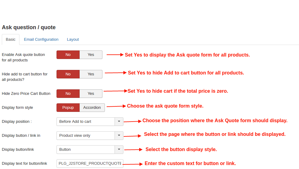 Ask quote settings