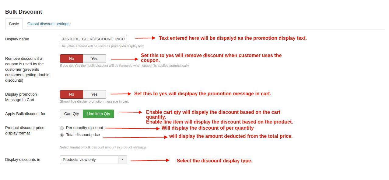 Global settings for bulk discount
