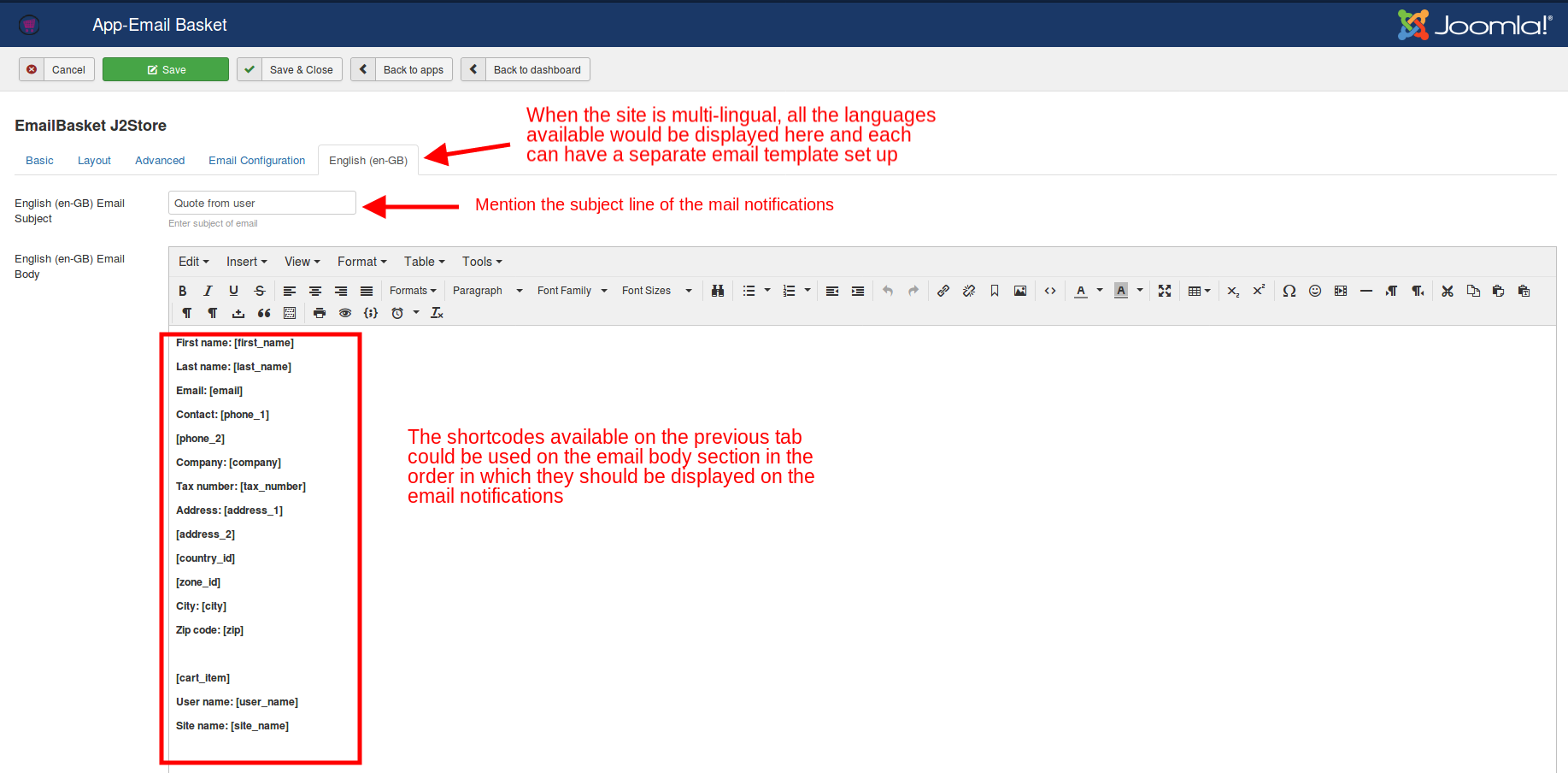 Email configuration in the English tab
