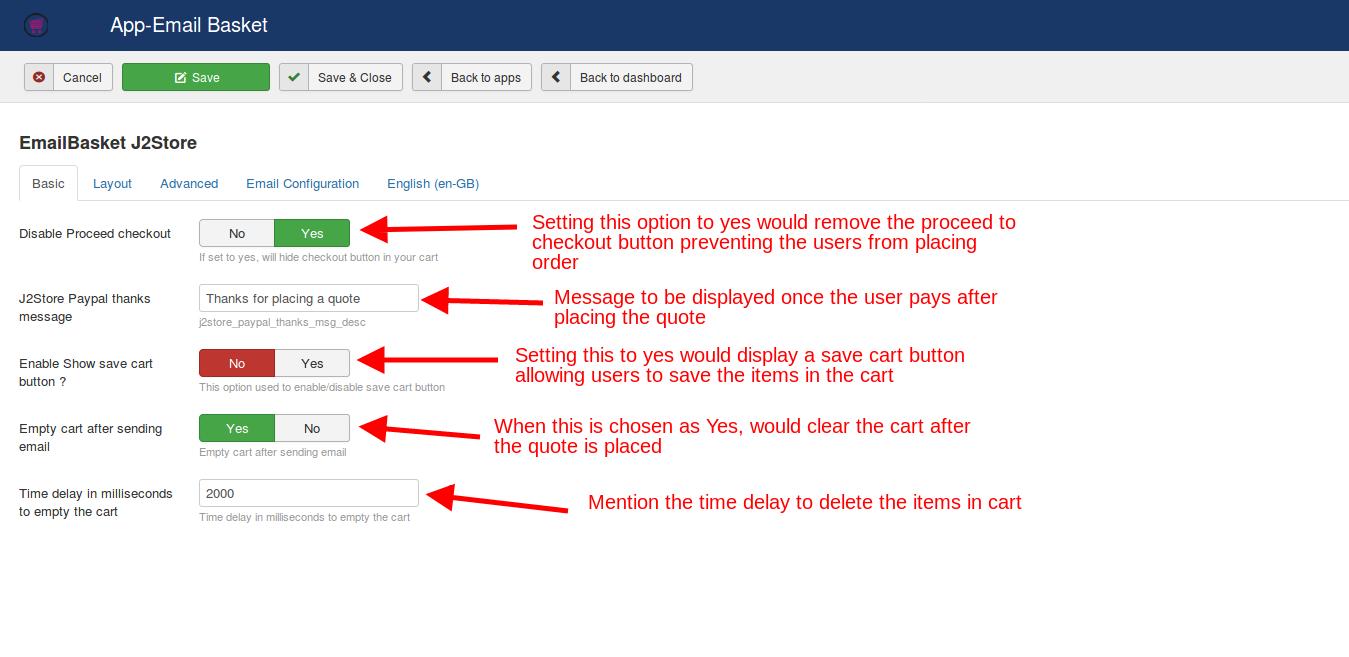 Email-basket settings