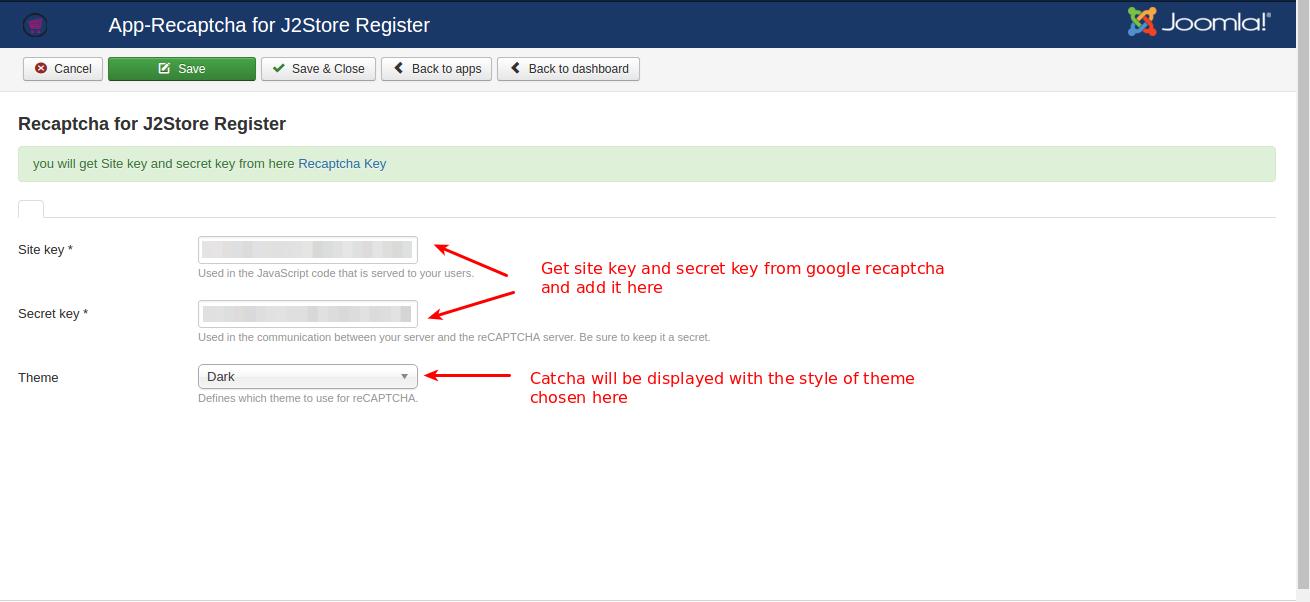 Re-captcha for J2store Register