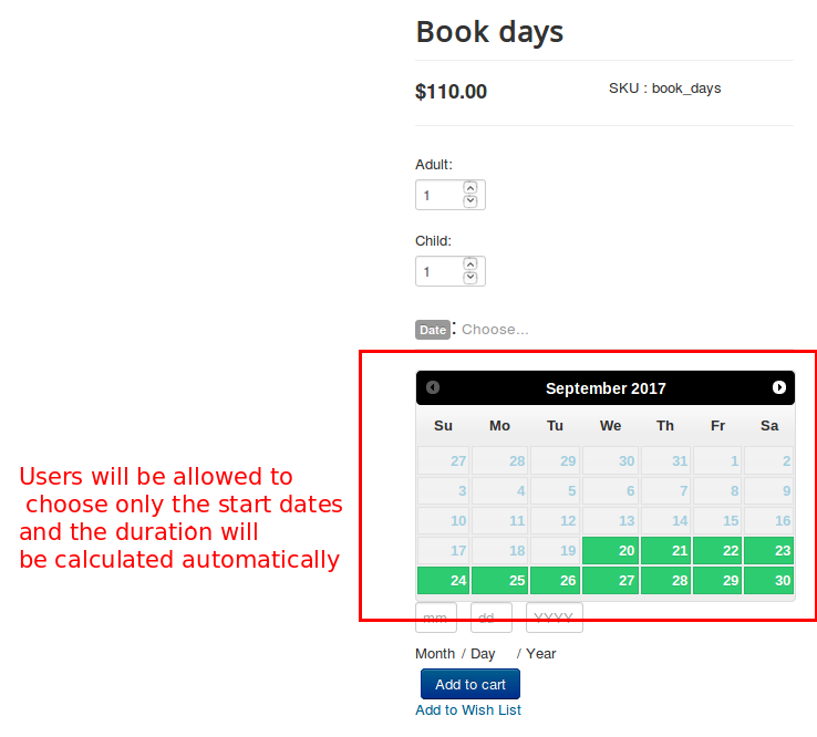 booking duration front