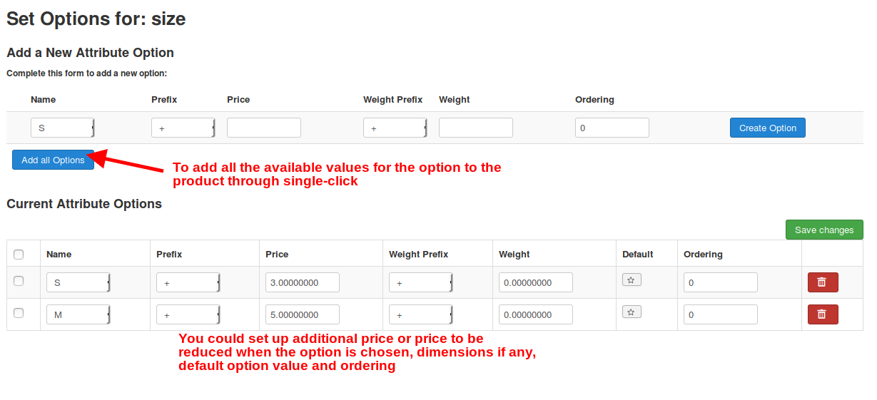 Adding option values to products