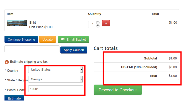Tax rate in cart page