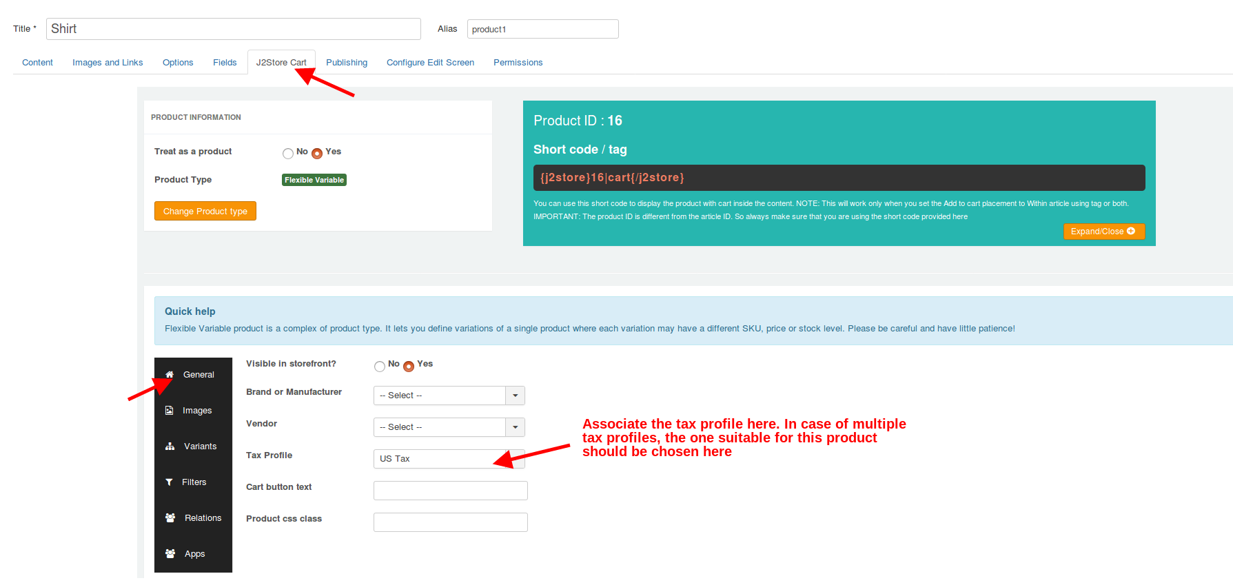 Setting tax profile in product
