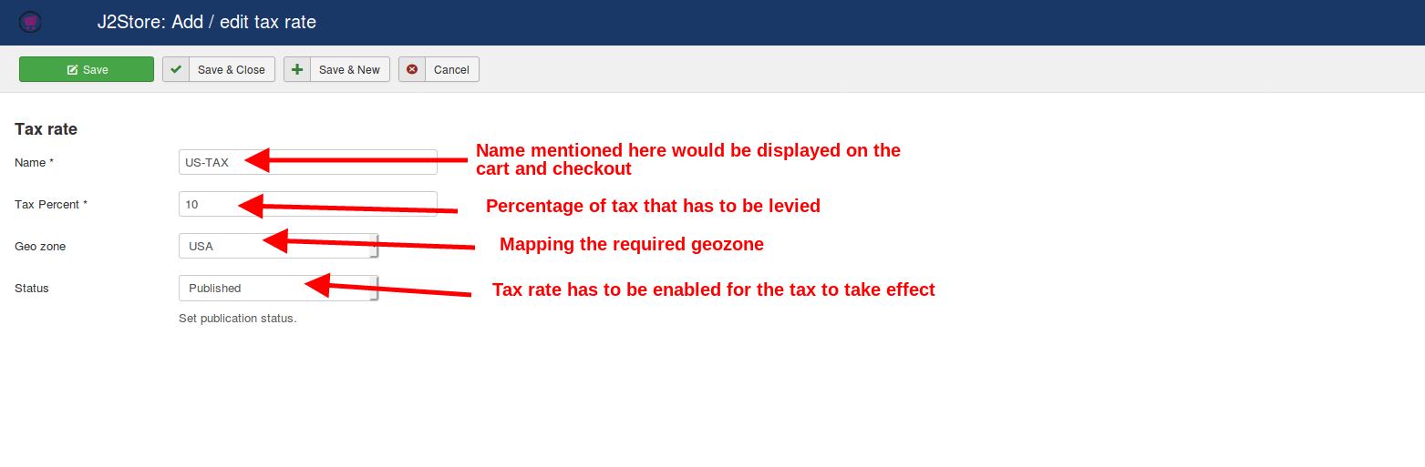 Filling in the tax details in a tax rate