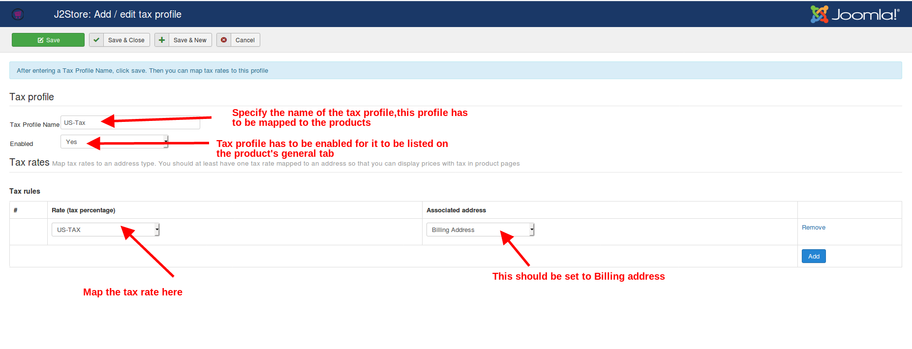 Adding details to tax profiles