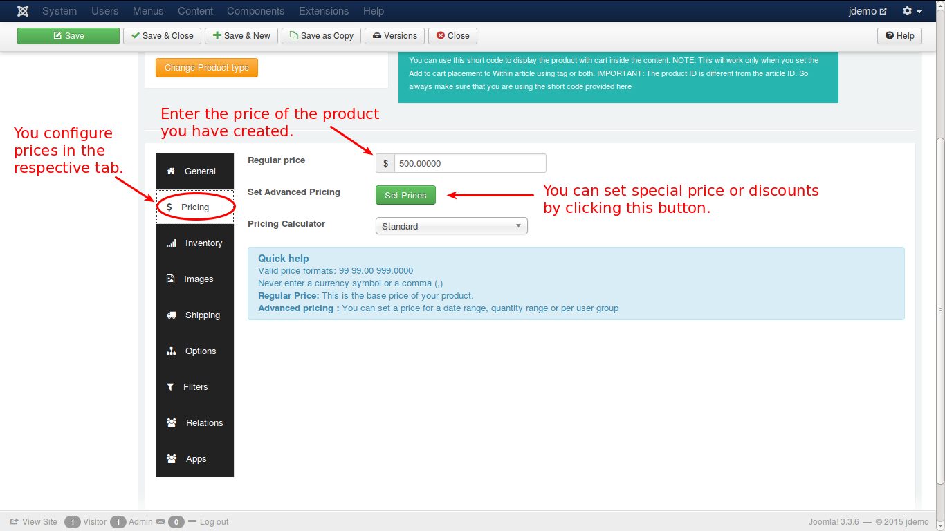 Adding a pricing