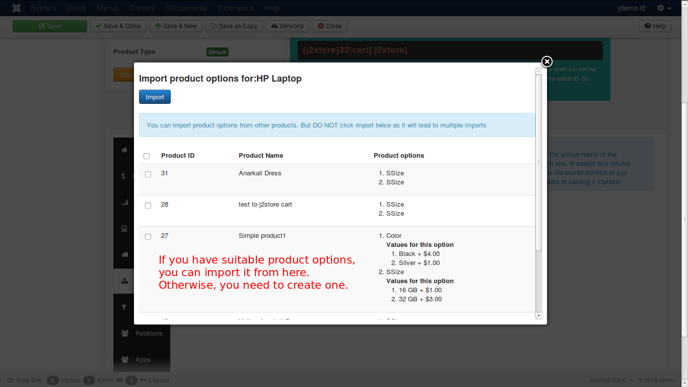 Importing options on a simple product