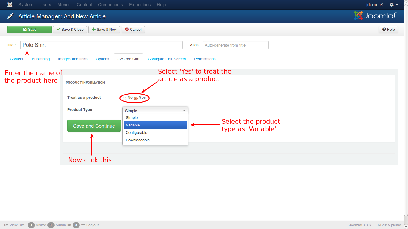 Choosing product type